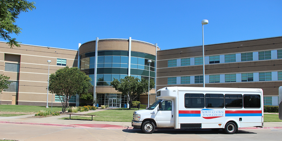 Corinth Campus exterior with the NCTC Shuttle parked in front