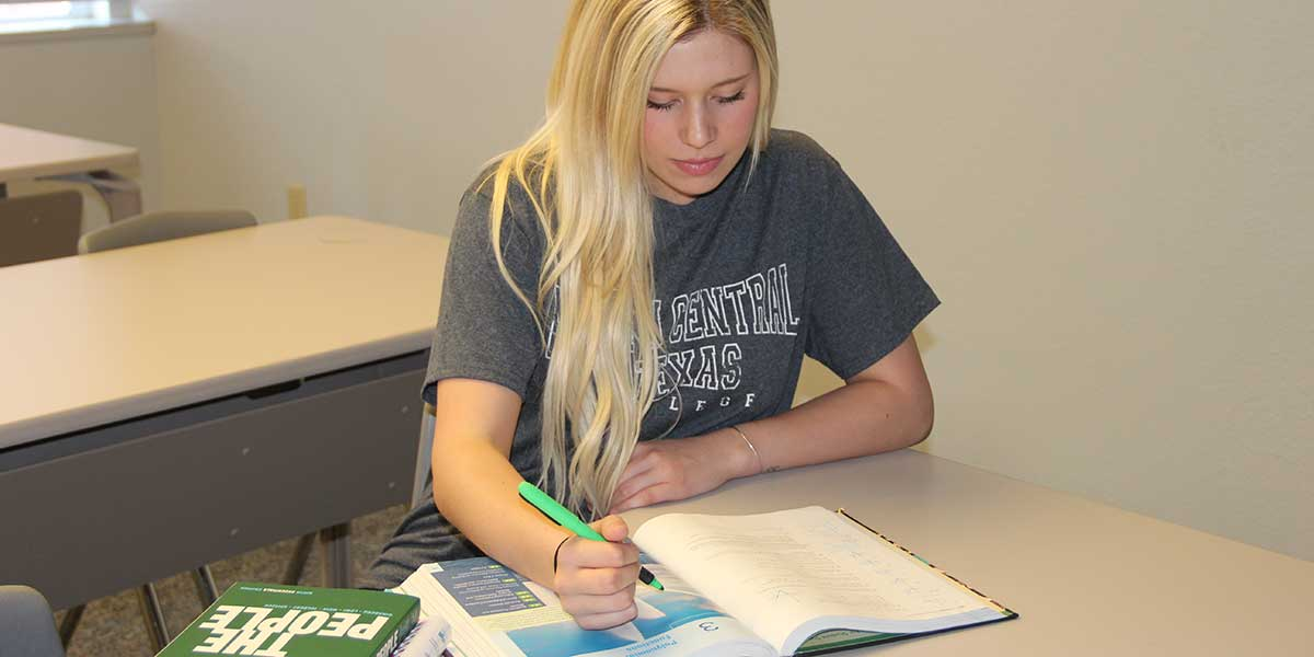Blonde Student Studying Humanities