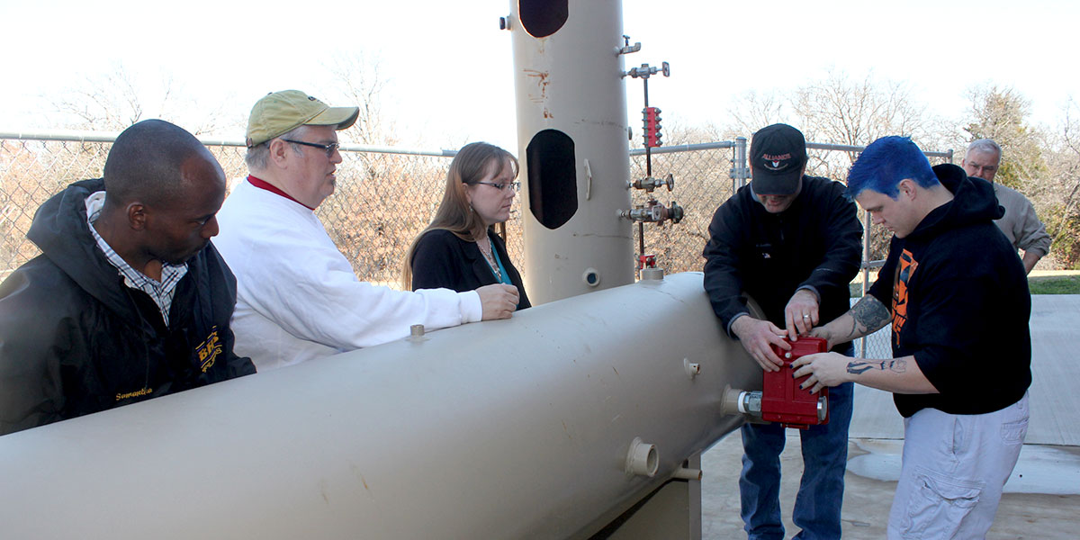 Outdoor petroleum technology lab at Bowie Campus