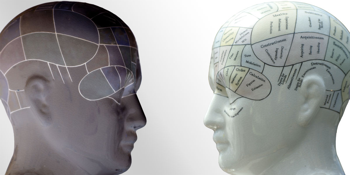 Phrenology models and expressions of a darker side of human psychology